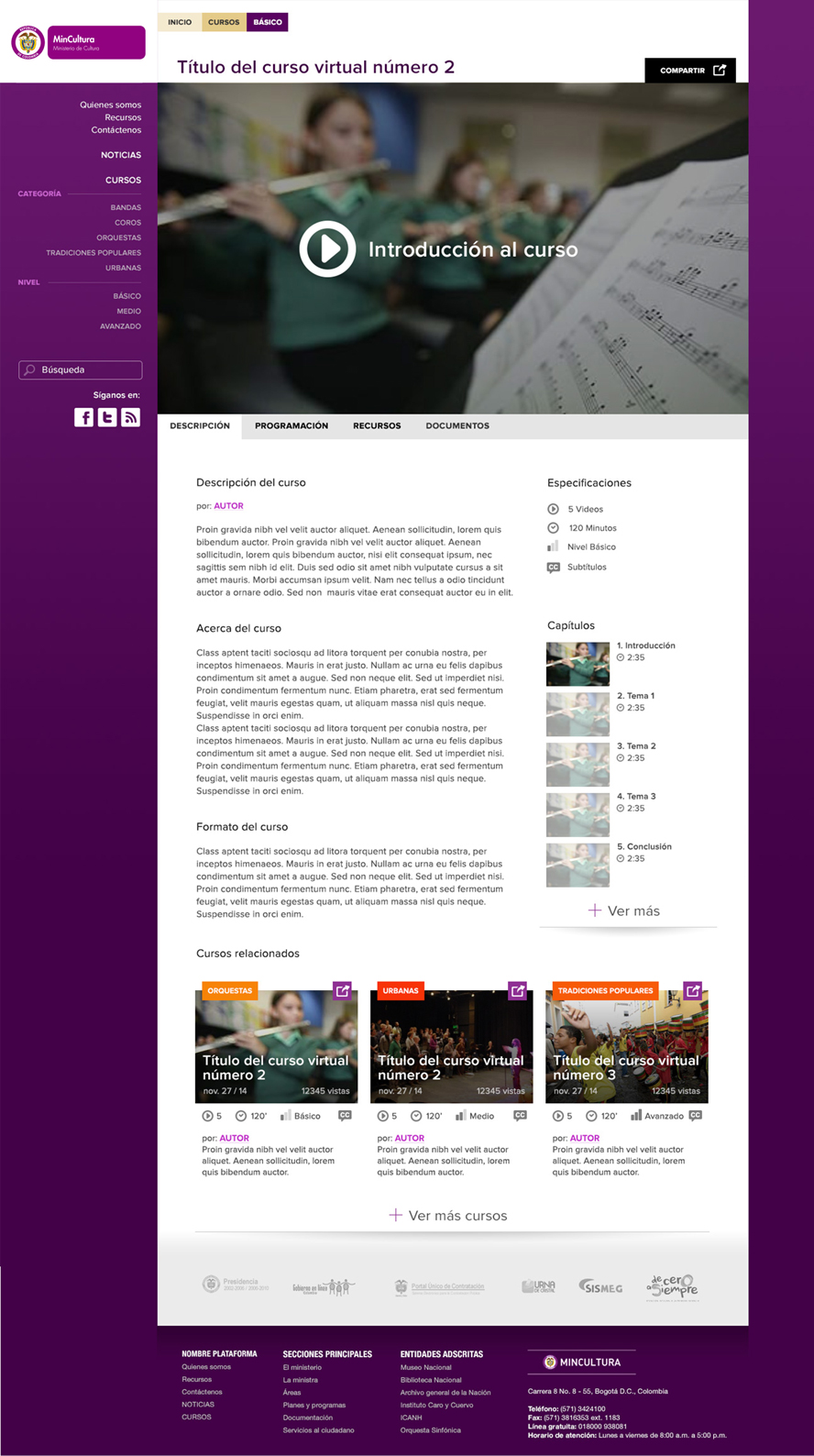 E-learnig portal proposal for the colombian ministry of culture